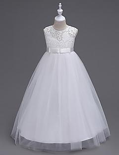 a-linje gulvlengde blomst jente kjole - organza ermeløs juvel hals med blonder av likestar