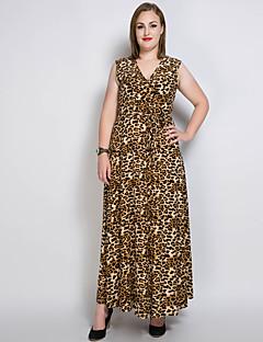 Damer Sexet Vintage Simpel Afslappet/Hverdag Fest/cocktail Plusstørrelser Løstsiddende Skift Swing Kjole Ensfarvet Leopard,V-hals Maxi