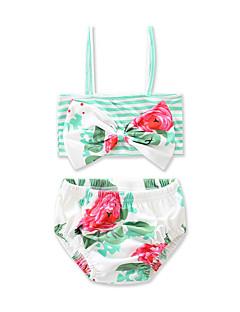 billige Badetøj til piger-Pige Blomster Stribet Rosette Stribet Blomstret Trykt mønster Badetøj, Bomuld Grøn