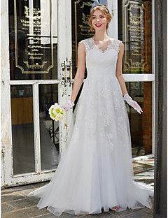 A-Line V-neck Sweep / Brush Train Lace Tulle Wedding Dress with Lace by LAN TING BRIDE®
