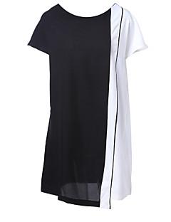 baratos Ponta de Estoque-Mulheres Tamanhos Grandes Reto Vestido Estampa Colorida Acima do Joelho