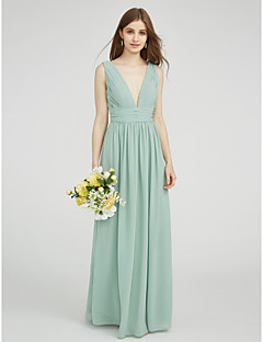 Sheath / Column V-neck Floor Length Chiffon Bridesmaid Dress with Side Draping Ruching by LAN TING BRIDE®