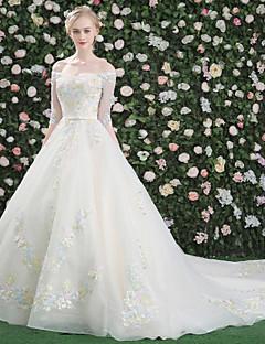 Prinzessin Bateau Hals Kathedrale Zug Crepe Pailletten Brautkleid mit Kristall von qz