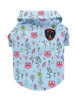 billiga Hundkläder-Katt Hund T-shirt Väst Hundkläder Djur Blå Cotton Kostym För husdjur Herr Dam Gulligt Ledigt/vardag Mode