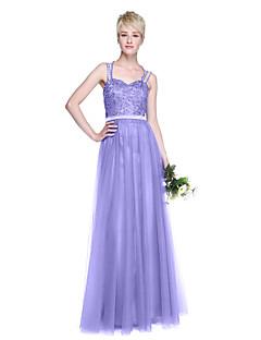 tanie Królewski błękit-Krój A Cienkie ramiączka Sięgająca podłoża Tiul Sukienka dla druhny z Koraliki Plisy przez LAN TING BRIDE®
