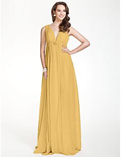 cheap Wedding Guest Dresses-A-Line V Neck Floor Length Chiffon Bridesmaid Dress with Beading Draping Pleats Crystal Brooch by LAN TING BRIDE®