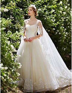 billiga Balbrudklänningar-Balklänning Fyrkantig hals Watteausläp Spets på tyll Bröllopsklänningar tillverkade med Kristall / Bård / Paljett av LAN TING BRIDE® / Glittra och gläns