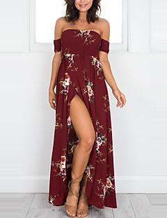 baratos Vestidos de Mulher-Mulheres Praia Feriado Bainha Vestido - Frente Única Fenda, Floral Sem Alças Cintura Alta Longo
