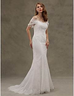 Mermaid Trumpet Spaghetti Straps Court Train Lace Wedding Dress With Button By LAN TING BRIDER