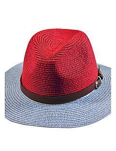 billige Trendy hatter-Dame Vintage Søtt Fest Kontor Fritid Stråhatt Solhatt,Vår Sommer Høst Alle årstider Lapper Strå Blå Hvit Oransje Rød Lyseblå