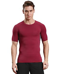 billiga Träning-, jogging- och yogakläder-Herr Rund hals T-shirt för jogging - Svart, Ljusröd sporter Mode Elastan T-shirt / Överdelar Sportkläder Snabb tork, Andningsfunktion,