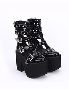 abordables Disfraces de Lolita-Zapatos Gosurori Punk Inspiración Vintage Hecho a Mano Lolita Tacón Cuadrado Color sólido Lolita Hueco 13cm CM Negro Para Cuero de PU