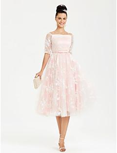 billiga Balklänningar-Prinsessa Bateau Neck Telång Spets Satäng Formell kväll Klänning med Rosett(er) Bälte / band av TS Couture®