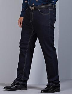billige Herrebukser og -shorts-Herre Store størrelser Rett Jeans Bukser Ensfarget
