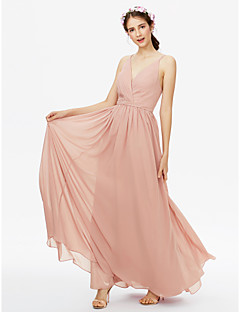 cheap Bridesmaid Dresses-A-Line V Neck Floor Length Chiffon Bridesmaid Dress with Sash / Ribbon Pleats Criss Cross by LAN TING BRIDE®