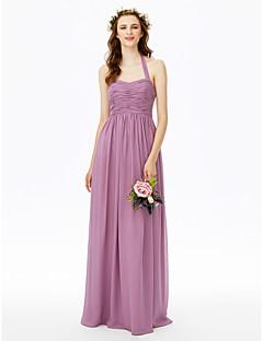 Sheath / Column Halter Floor Length Chiffon Bridesmaid Dress with Bow(s) Ruching Pleats by LAN TING BRIDE®