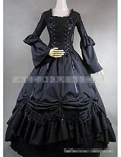 billiga Lolitaklänningar-Gotisk Lolita Elegant Vintage-inspirerad Dam Klänningar Cosplay Svart Golvlång Kostymer