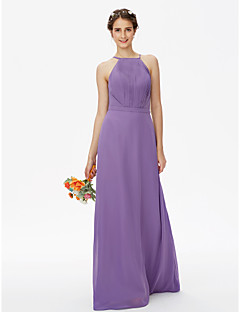 cheap Purple Passion-Sheath / Column Spaghetti Straps Floor Length Chiffon Bridesmaid Dress with Draping Sashes / Ribbons Side Draping by LAN TING BRIDE®