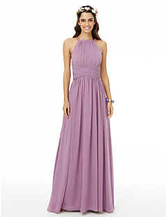 cheap Long Bridesmaid Dresses-A-Line Jewel Neck Floor Length Chiffon Bridesmaid Dress with Pleats Ruched Criss Cross by LAN TING BRIDE®