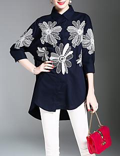 billige Skjorte-Krave Dame Trykt mønster Kineseri Arbejde Skjorte Polyester