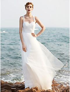 billiga A-linjeformade brudklänningar-A-linje Hjärtformad urringning Svepsläp Tyll Bröllopsklänningar tillverkade med Paljett / Veckad av LAN TING BRIDE®