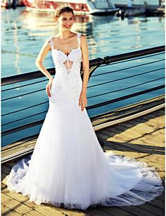 83ad15264e Trompeta / Sirena Escote Corazón Capilla Tul Vestidos de novia hechos a  medida con Cuentas / Apliques por LAN TING BRIDE® / Espalda Bonita