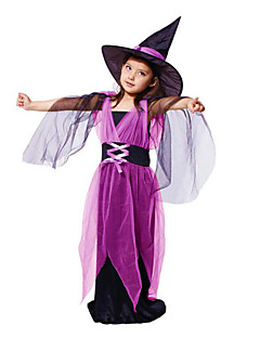 billige Barnekostymer-Trollmann/heks Cosplay Kostumer Halloween Utstyr Party-kostyme Maskerade Film-Cosplay Lilla Kjole Jul Halloween Karneval Barnas Dag Nytt