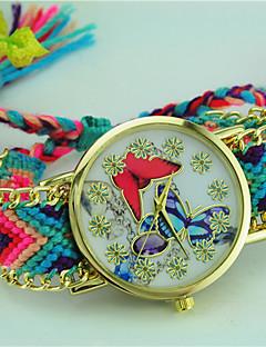 billige Armbåndsure-Dame Quartz Armbåndsur Hot Salg Stof Bånd Sommerfugl Bohemisk Mangefarvet
