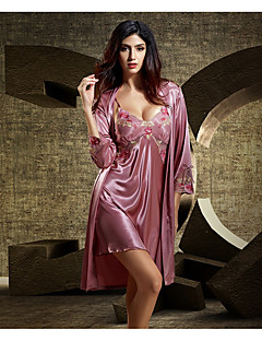 Women's Suits Nightwear,V-neck Print-Thin Polyester Blue Red Blushing Pink Purple Fuchsia