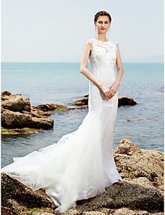 billiga Trumpet-/sjöjungfrubrudklänningar-Trumpet / sjöjungfru Prydd med juveler Svepsläp Spets / Tyll Bröllopsklänningar tillverkade med Spets / Veckad av LAN TING BRIDE®