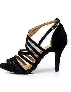 Damă Latin Pantofi Dans Salsa Îmbulzesc Sandale Antrenament Începător Profesional Înăuntru Cataramă Toc Stilat Negru 8.5cm Personalizabili
