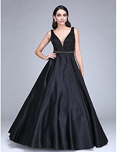 Haine Bal Gât V Lungime Podea Satin Seară Formală Rochie cu Mărgele Eșarfă / Panglică de TS Couture®