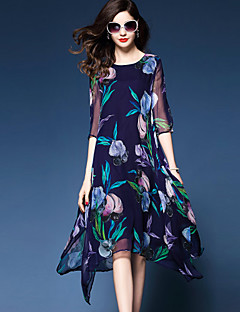 Women's Plus Size Going out Simple Sophisticated Chiffon Swing Dress,Floral Round Neck Midi Polyester Chiffon Summer Mid Rise Inelastic