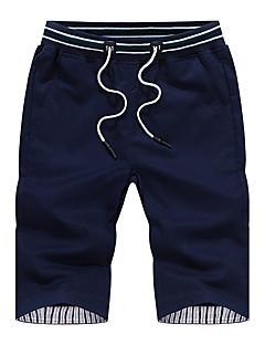 billige Herrebukser og -shorts-Herre Store størrelser Bomull Avslappet / Shorts Bukser Ensfarget