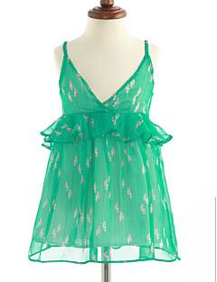 baratos Ponta de Estoque-Menina de Vestido Algodão Sem Manga Floral Azul Verde