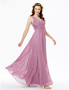 cheap Purple Passion-Sheath / Column V Neck Floor Length Chiffon Bridesmaid Dress with Pleats Criss Cross by LAN TING BRIDE®