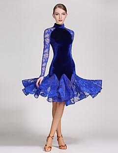 Dança Latina Vestidos Mulheres Actuação Renda / Veludo Pano 1 Peça Manga Comprida Natural Vestidos S:96cm  M:97cm L:98cm XL:99cm XXL:100cm