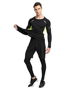 billige Løbetøj-Herre T-shirt og bukser til løb og jogging Hurtigtørrende for Yoga / Træning & Fitness / Løb Elastin, Terylene Grøn og Sort / Sort / Grøn