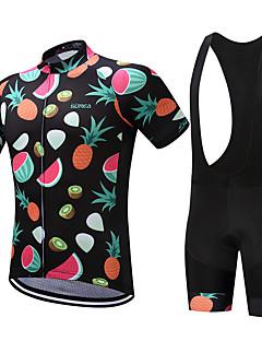 billiga Cykling-SUREA Herr Kortärmad Cykeltröja med Haklapp-shorts Cykel Klädesset, Snabb tork, Andningsfunktion, Svettavvisande Coolmax® / Lycra