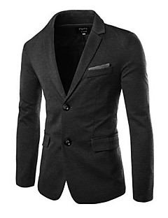 Herren Solide Formell Büro/Geschäftlich Anzug,V-Ausschnitt Winter Lange Ärmel Standard Baumwolle