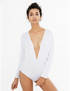 여성의 섹시 점프 슈트 긴 소매 스트레치 얇음 면 / 폴리에스테르