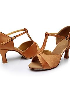 Χαμηλού Κόστους -Γυναικεία Παπούτσια χορού λάτιν Μετάξι Πέδιλα Προσαρμοσμένο τακούνι Εξατομικευμένο Παπούτσια Χορού Καφέ / Εσωτερικό / Δέρμα