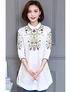 여성 솔리드 V 넥 긴 소매 셔츠,심플 캐쥬얼/데일리 폴리에스테르