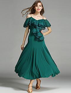 Balo Dansı Kadın's Buz İpek Kırma Dantelli Kumaş Kaplanmış 1piece / Set Doğal Elbise