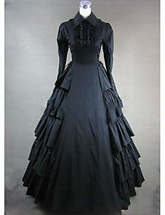 Victorian Rococo Female One Piece Dress Black Cosplay Other Cotton Long Sleeves Cap Floor Length