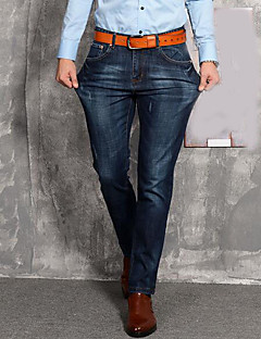 Herre Enkel Mikroelastisk Jeans Bukser,Avslappet Mellomhøyt liv Ensfarget