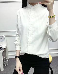 Damen Solide Einfach Lässig/Alltäglich Hemd,Rundhalsausschnitt ¾-Arm Baumwolle