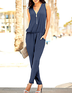 Women's Daily Club Holiday Classic Style Casual Solid Color Fashion V Neck Jumpsuits,Slim Sleeveless Spring Summer Polyster