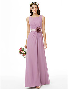 cheap Purple Passion-Sheath / Column Jewel Neck Floor Length Chiffon Bridesmaid Dress with Satin Flower Bow(s) Sashes / Ribbons Pleats by LAN TING BRIDE®