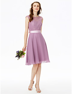 Princess Jewel Neck Knee Length Chiffon Lace Bridesmaid Dress with Bow(s) Lace Sash / Ribbon by LAN TING BRIDE®